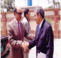 Chief NPO Welcoming Mr. Shahab Khwaja, Secretary Ministry of Industries and Production in NPO Office